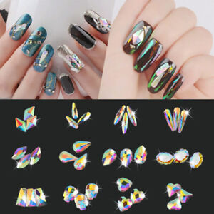 16e887e25d Details about Crystals Rhinestones Gems Glitter Flat Back Elongated Stone  Nail Art Accessories