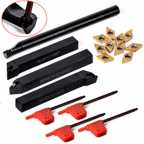 10Pcs Carbide Inserts DCMT0702 With Wrenches 4PCS Lathe Turning Tools Holder