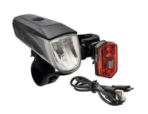 Büchel Fahrradbeleuchtung Set StVZO 70 Lux LED Scheinwerfer Rücklicht Akku USB