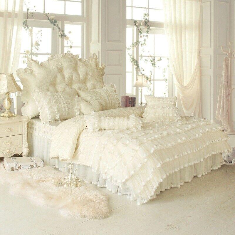 Bedding Set Bed Cover 4pcs Lace Bed Skirt Set Luxury Fancy Bedset Beige Purple