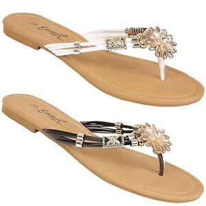 8316bac55cb8 ZIRCONIA Ladies Flat Toe Post Diamante Jewelled Flip Flops ...