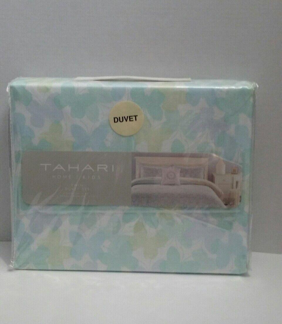 TAHARI HOME PASTEL BUTTERFLY AQUA blueE GREEN LAVENDER TWIN DUVET 2 PC SET  New.