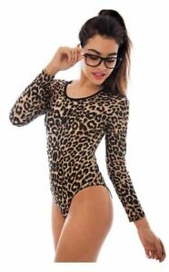Womens-Ladies-LEOPARD-Print-Bodysuit-Leopard-Long-Sleeve-Stretch-Leotard-Top
