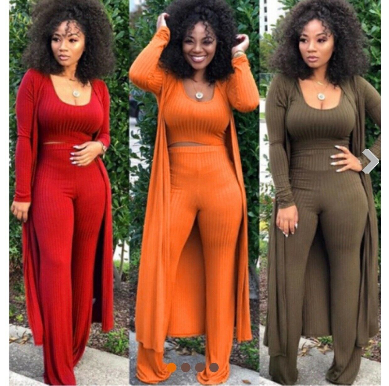 New two piece set S-2xl (Red,Army Green,orange)