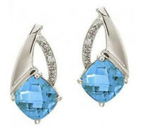 14k White Gold Cushion Cut Genuine Blue Topaz And Diamond Earrings
