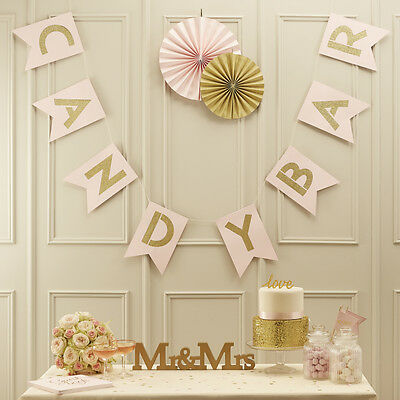 JUST ♥ Married Party-Kette 1,30m lang reflektierend rosa Girlande Hochzeit DEKO