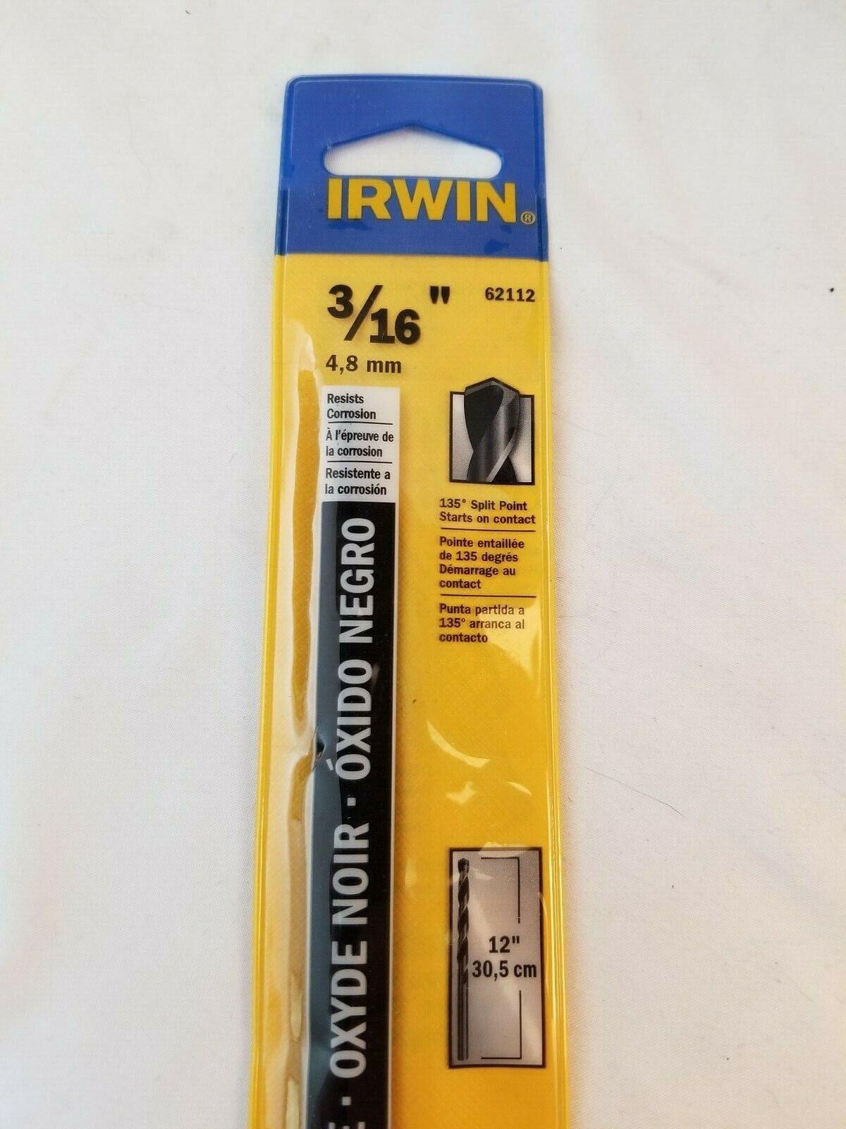 Irwin Tools 62112ZR Single Black Oxide High-Speed Steel Drill Bit 3//16 x 12
