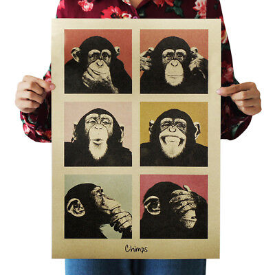 Animal Vintage Retro Poster Gorilla Chimps Kraft Paper For Home Bar