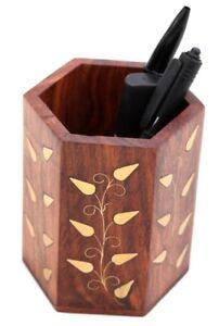 Wooden Hexagonal Pen Pot With Floral Brass Inlaid Detail Rabatte Verkauf Klein- & Hängeaufbewahrung Boxen