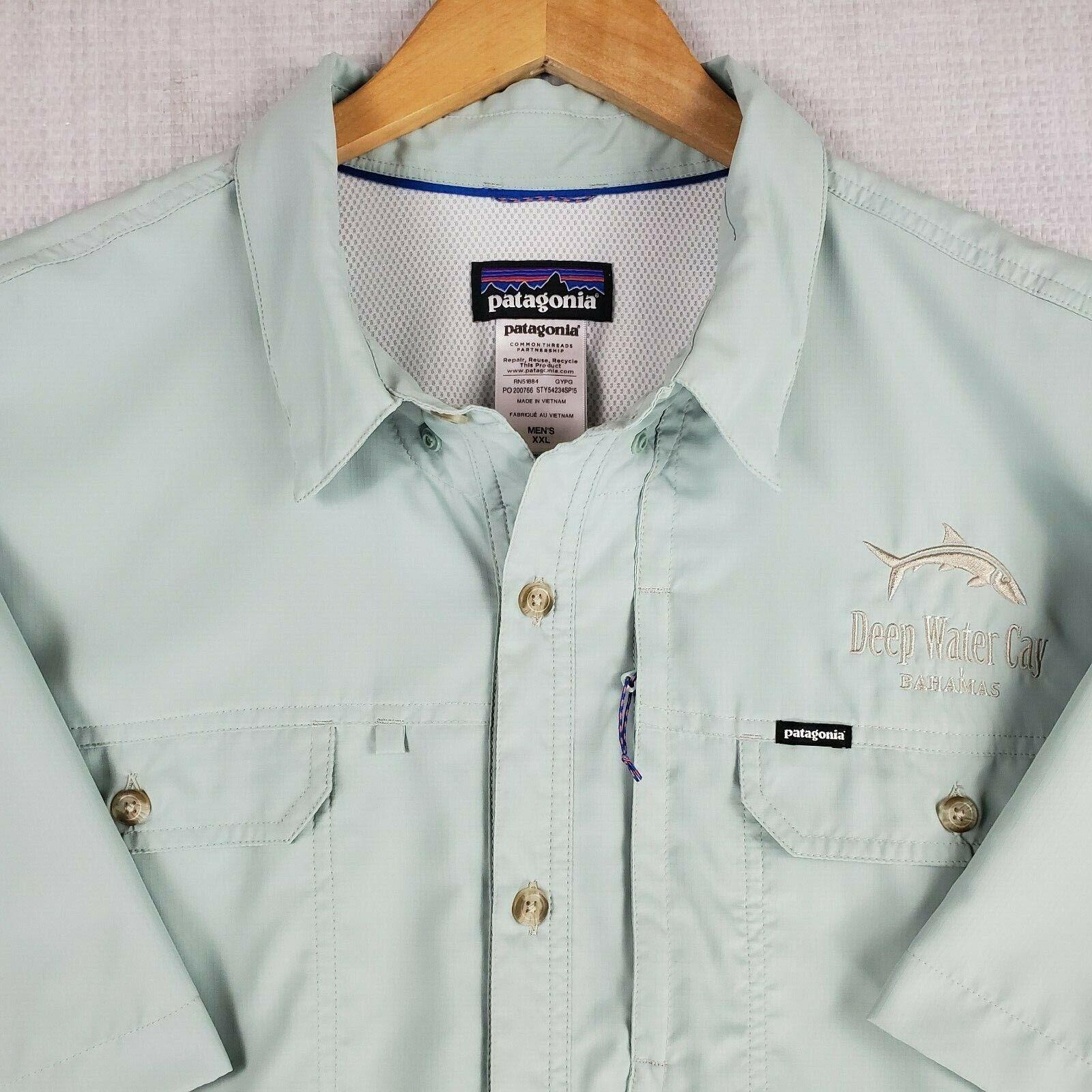 PATAGONIA 2XL uomini Button Down Vented Short Sleeve Bahamas pesca Polo Shirt