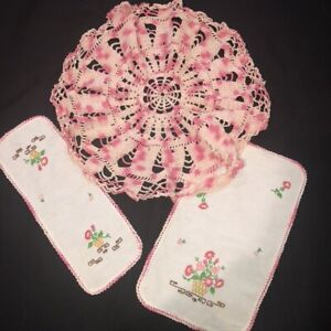 """Lot of 3 Vintage Embroidered Linen Doilies set 2 and Pink Crocheted 18""""R  Doily"""
