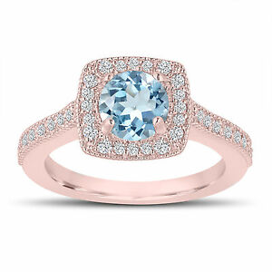 d78e86751 1.14 Carat Aquamarine Engagement Ring, Wedding Ring 14K Rose Gold ...