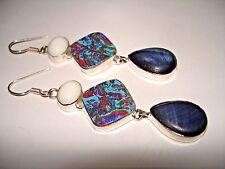 "AB Rainbow Calsilica Blue Goldstone White Jade Silver Hook Dangle Earrings 3"""