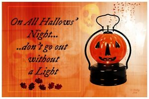 Halloween-Retro-VTG-Style-Original-Jack-O-Lantern-Postcard-All-Hallows-Night