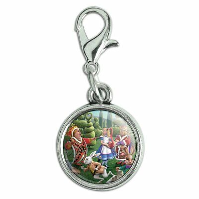 Retro White Rabbit Alice in Wonderland Small Round SilverPendant Necklace w lobster closure