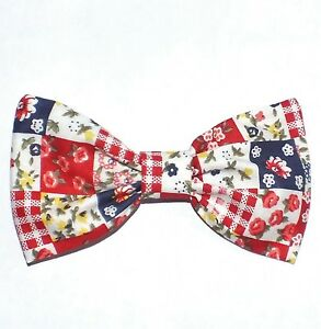 NEW-VINTAGE-STYLE-RED-BLUE-PATCHWORK-COTTON-PRINT-4in-HANDMADE-HAIR-BOW-CLIP-230