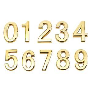 Door Number House Numeric Digits Gold Plastic Self-Adhesive Number 5X3X0.6cm