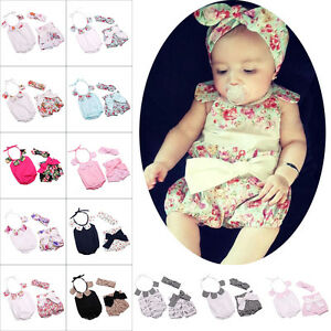 6c46e838355c 3pcs Baby Girl Floral Outfit Halter Romper Jumpsuit Bloomer Headband ...