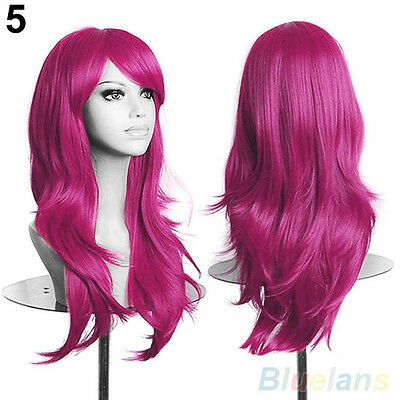 Classic Womens Long Hair Wig Curly Wavy Synthetic Anime Cosplay Party Full Wigs