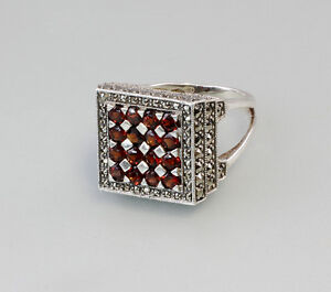 9907099 925er Silber Granat-Ring Gr. 60