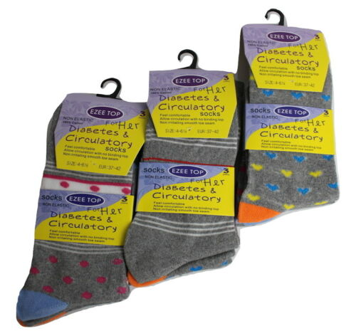 Ladies DIABETIC Socks Cotton Rich Very Soft Smooth Boosts Circulation Wide Top