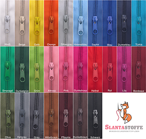 Reißverschluss endlos 5m, Spirale 5mm + 10 Schieber/Zipper 27 Farben, Meterware