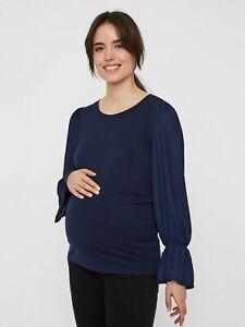Mamalicious-Maternity-Camicetta-Tunica-Top-Blu-Navy-Smart-Lavoro-35-prezzo-consigliato-UK