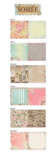Bo Bunny SOIREE Collection Scrapbook paper Lot 12 pcs double sided