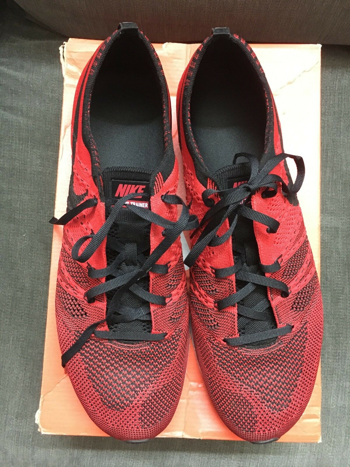 NIKE Flyknit Trainer University Red 532948 610 Size 11