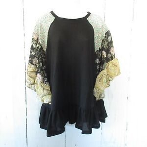 New-Umgee-Top-XL-Black-Waffle-Knit-Floral-Ruffle-Bell-Sleeve-Oversized-Plus-Size