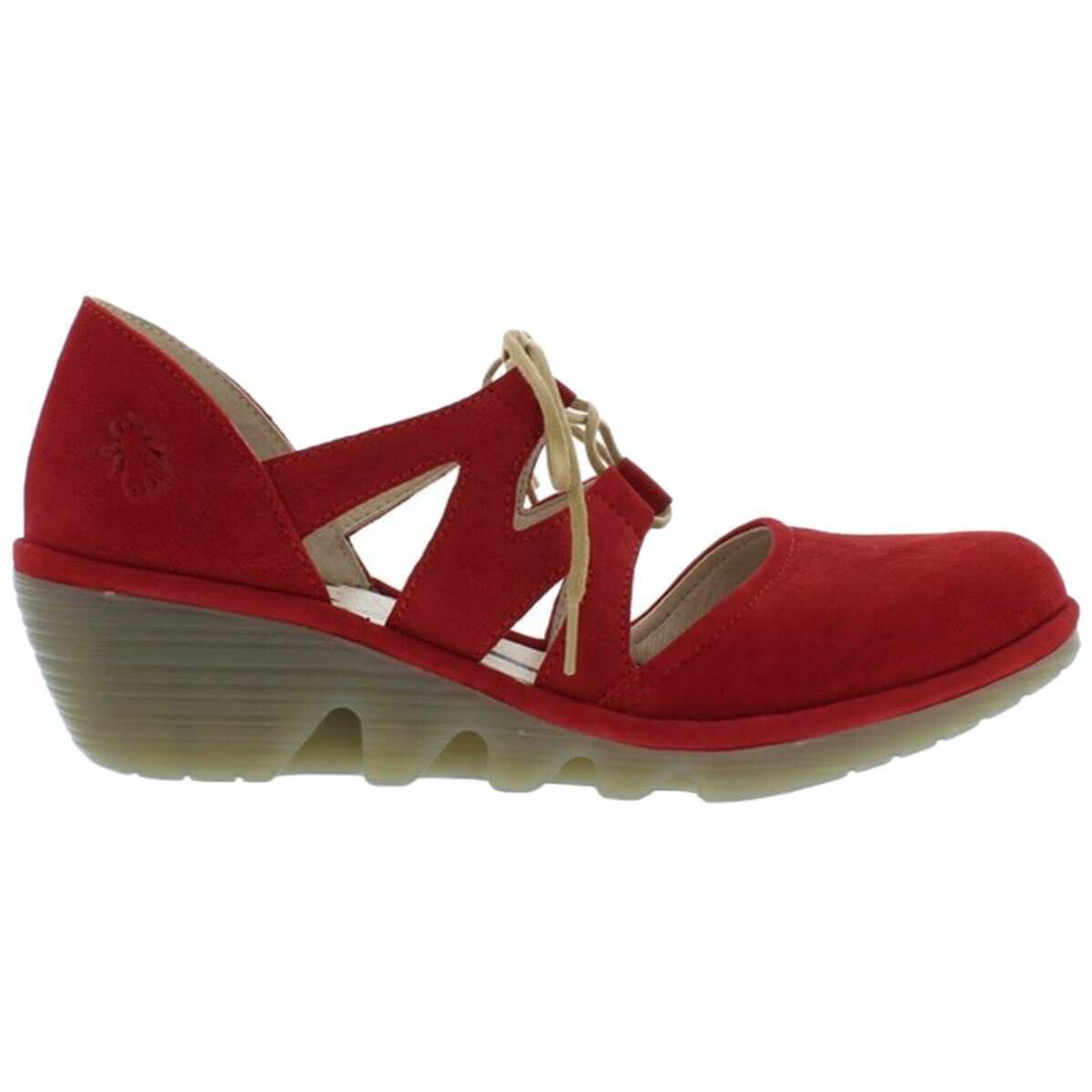 Último gran descuento Fly London Phis 843 Lipstick Red Womens Nubuck Lace-Up Wedge Shoes
