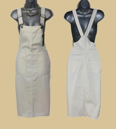 ZARA Off White Ivory Pinafore Tunic Mini Dress Dungaree Midi Skirt size XS