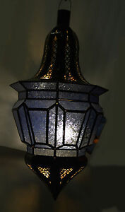 Moroccan Glass Lantern Lamp Indoor Outdoor Electric Candlelit Medium Green