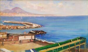 G. PANE, Baie de Naples-Vésuve-Paysage marin-Peinture à l'huile impressionniste