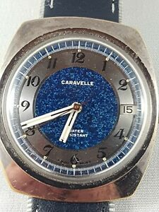 Vintage-Caravelle-by-Bulova-N2-men-039-s-watch-sky-dial-Rare-collector-watch