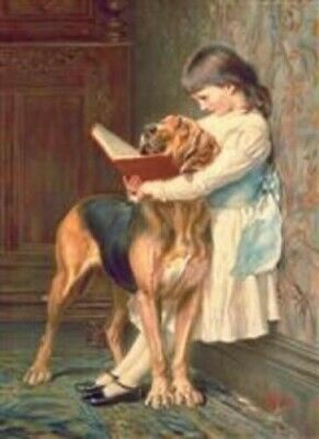Victorian Trading Co Naughty Boy Little Girl Blood Hound Dog Unframed Print