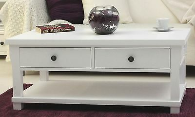 Hampton New England style white painted furniture storage coffee table