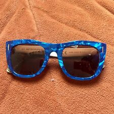 Retrosuperfuture Ciccio Sunglasses Blue Marble Gold Chrome Clear lens VGC Used