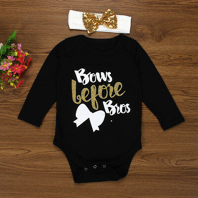 2PCS Newborn Baby Girl Sequin Bow Long Sleeve Romper Jumpsuit+Headband Outfits