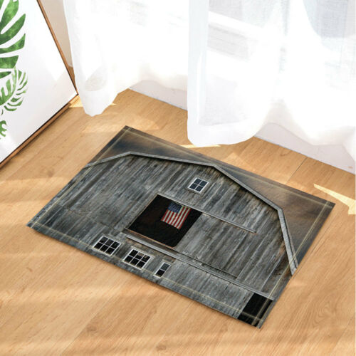 Gray Wooden House And American Flag Bathmat Bathroom Rug Non-Slip Door Mat