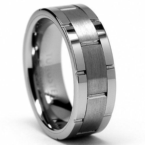 COOL TRANSFORMER TUNGSTEN CARBIDE SILVER GROOVED Mens WEDDING BAND RING JS02R