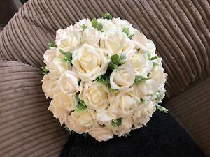 Wedding Flowers Bride Large Navy /& Ivory   Posy Bouquet £30.00
