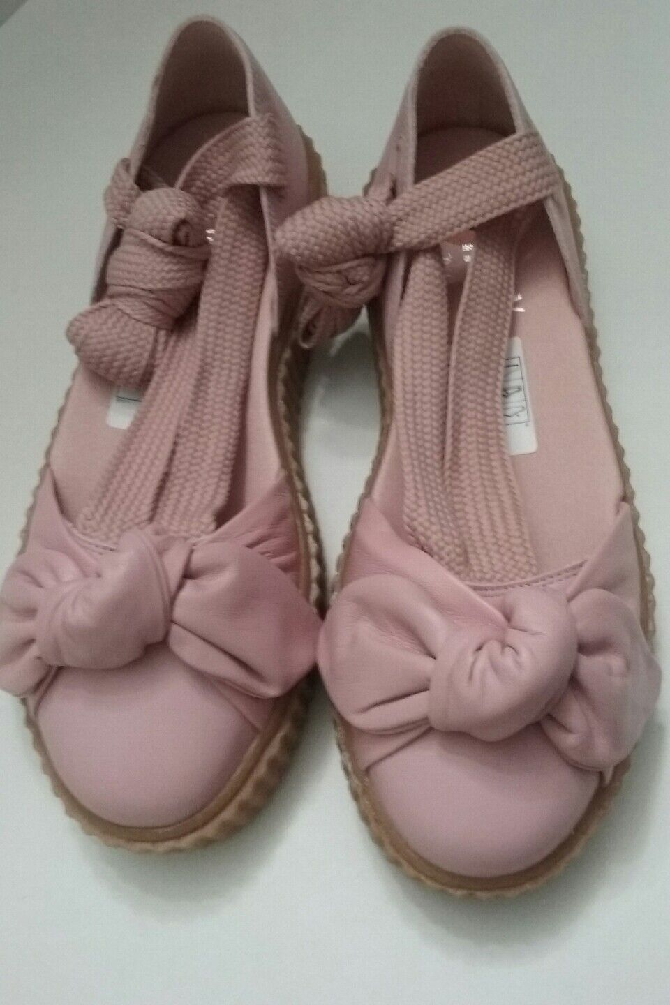 PUMA Rihanna Sandals Women's 7.5Pink Leather Bow Creeper Platform shoes NEW  140