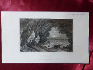 Antique-engraving-of-FRESHWATER-CAVE-ISLE-OF-WIGHT-c1830-Very-rare-art-print