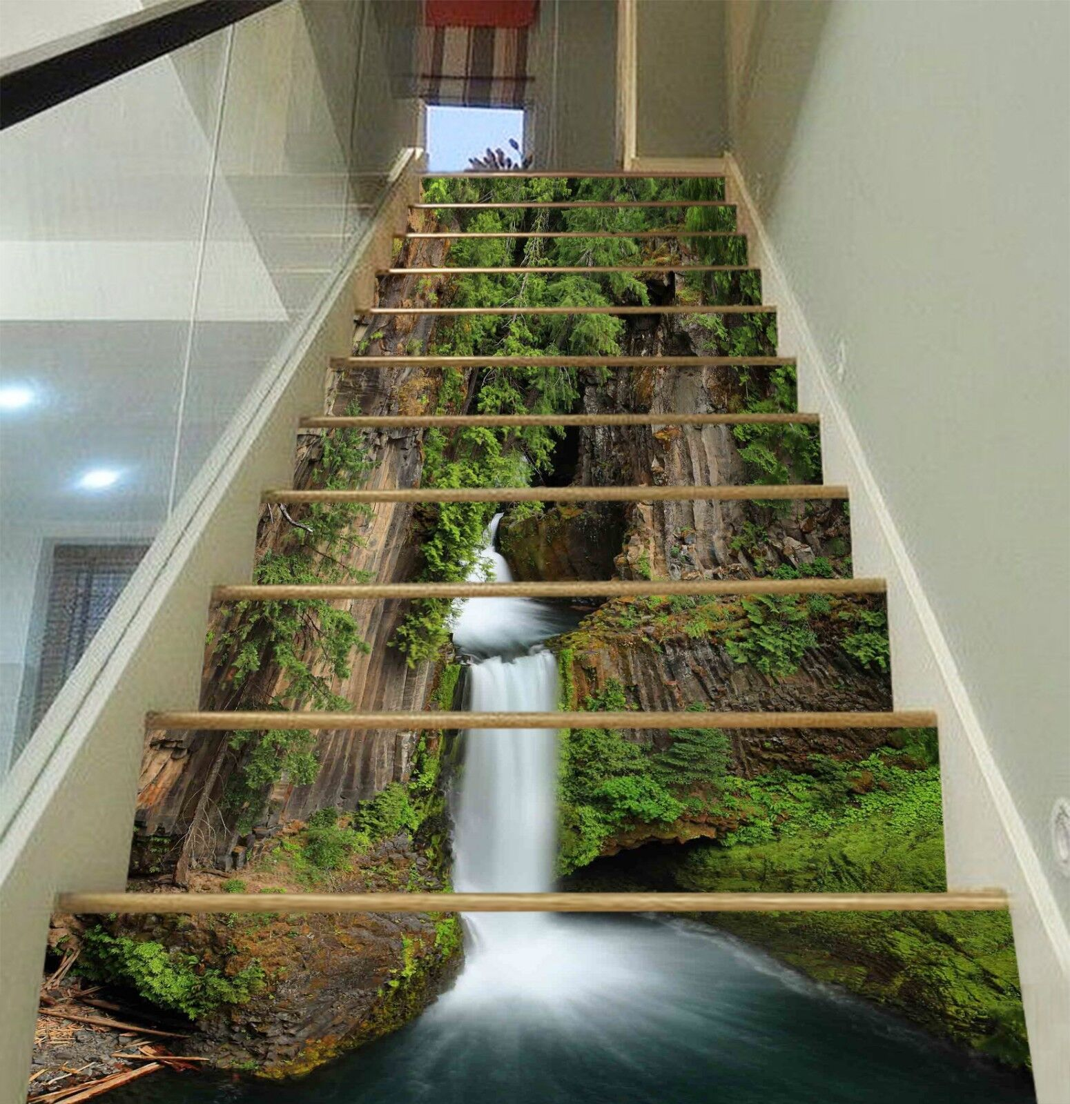 3D Stream Leaf Stair Risers Decoration Photo Mural Vinyl Decal Wallpaper UK