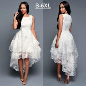 Womens Summer Long Asymmetric Hem Bridesmaid Wedding Party Formal Cocktail Dress