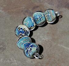 5 Lampwork Handmade Glass Pink Chintz Oval Pendant Focal Beads