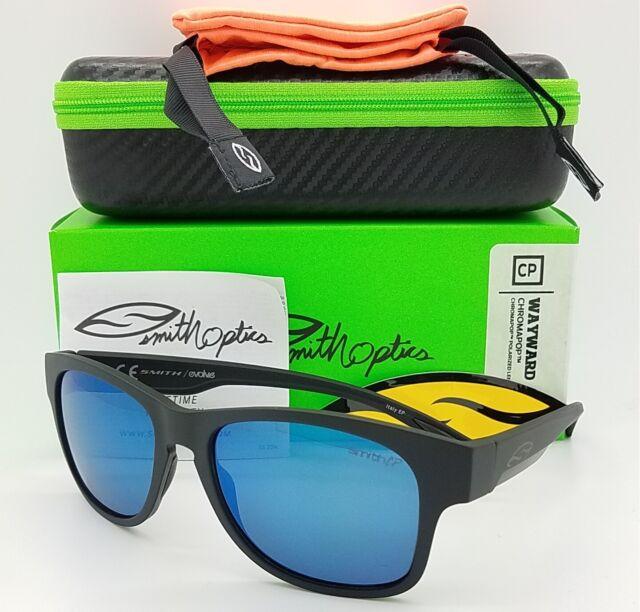 NEW Smith Wayward Sunglasses Matte Black Chromapop Polarized Blue Mirror $219