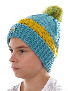 O`Neill Beanie Ski Cap Pompom Hat Born To Explore Blau Chunky Knitted