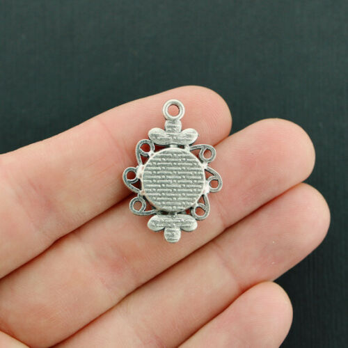 Z555 4 Mermaid Scale Charms Antique Silver Tone Setting Ocean Blue Opal Color